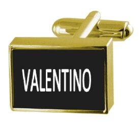 【送料無料】メンズアクセサリ— カフスリンク ヴァレンチノengraved box goldtone cufflinks name valentino