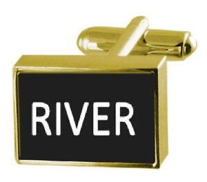 【送料無料】メンズアクセサリ? ボックスカフリンクスengraved box goldtone cufflinks name river