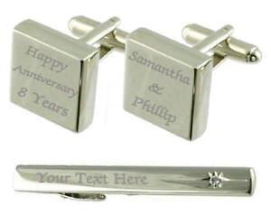 【送料無料】メンズアクセサリ? カフスボタンタイクリップボックスhappy anniversary engraved cufflinks tie clip box set