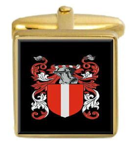 【送料無料】メンズアクセサリ? アイルランドカフスボタンボックスコートmccannon ireland family crest surname coat of arms gold cufflinks engraved box