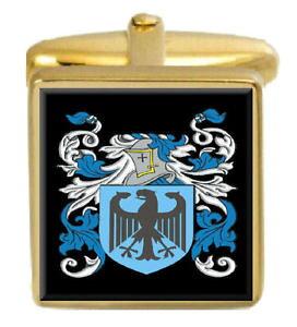 【送料無料】メンズアクセサリ? イングランドカフスボタンボックスコートbeverley england family crest surname coat of arms gold cufflinks engraved box