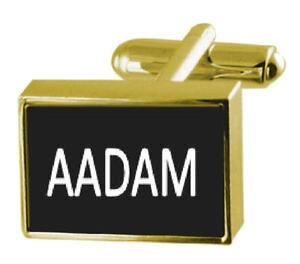 【送料無料】メンズアクセサリ? ボックスカフリンクスengraved box goldtone cufflinks name aadam