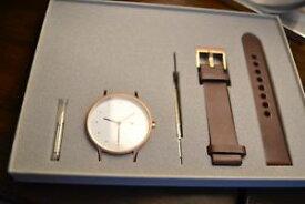 【送料無料】腕時計 ウォッチ ピンクゴールドボックスベルトinstrmnt oro rosa reloj 01b correa marrn nuevo en caja gran regalo 40mm