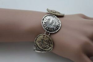 【送料無料】ブレスレット アクセサリ? ジュエリーシルバーブレスレットクロスwomen jewelry silver bracelet metal gold coin faith hope love charm bless cross