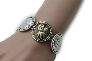【送料無料】ブレスレット アクセサリ? ジュエリーシルバーブレスレットコインwomen jewelry silver bracelet metal gold coin angel charm protection wing bless