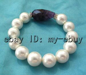 【送料無料】ブレスレット アクセサリ? サウスシーシェルパールアメジストブレスレット14mm round white rainbow south sea shell pearlamp;long amethyst bracelet 8