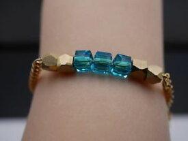 【送料無料】ブレスレット アクセサリ— ガラスアクセントトルコブレスレットlush bracelet with square glass beads and gold accentsgold turquoise