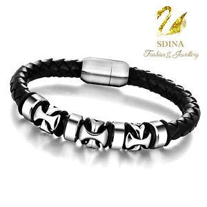 【送料無料】ブレスレット アクセサリ? ステンレスクロススマートmen`sブレスレットstainless steel genuine leather braided cross circle stylish mens bracelet