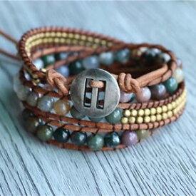 【送料無料】ブレスレット アクセサリ— トリプルビーズトリプルフレンドシップブレスレットサーファーtriple agate beads copper triple wrap friendship bracelet surfer hipster
