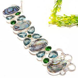 【送料無料】ブレスレット アクセサリ? アワビシェルアパタイトブレスレットabalone shell, apatite gemstone fashion jewelry bracelet 78 sb1218