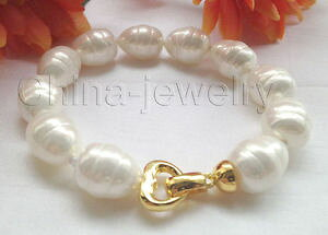 【送料無料】ブレスレット アクセサリ? ホワイトバロックライスシーシェルパールブレスレットグランプリクラスプhot 8 16mmwhite baroque rice shape sea shell pearl bracelet gp clasp