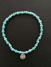 【送料無料】ブレスレット アクセサリ— レディースターコイズスターリングシルバービーズブレスレットladies turquoise amp; sterling silver beaded bracelet with lotus flower charm