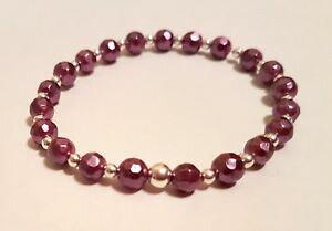 【送料無料】ブレスレット アクセサリ? スターリングシルバーパールビーズブレスレットパープルサウスシーシェルパール925 sterling silver pearl bead bracelet purple south sea shell pearl elasticated