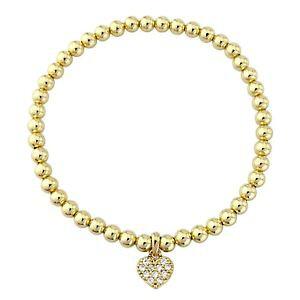 【送料無料】ブレスレット アクセサリ? kゴールドトーンリンクチェーンクリスタルハートチャームブレスレットスワロフスキーエレメントpretty 18k gold tone link chain crystal heart charm bracelet sw