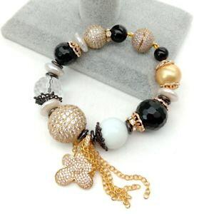 【送料無料】ブレスレット アクセサリ? ホワイトコインパールオニキスブレスレットペンダント8 white coin pearl porcelain onyx bracelet czpave pendant