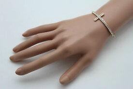 【送料無料】ブレスレット アクセサリ— チェーンファッションブレスレットロングシルバークロスブリングwomen gold metal chain fashion wrist bracelet long silver cross bling