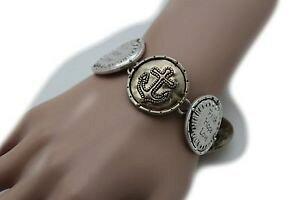 【送料無料】ブレスレット アクセサリ? メタルシルバーコインブレスレットファッションペンダントクロスwomen gold metal silver coin bracelet fashion love pendant bless faith cross
