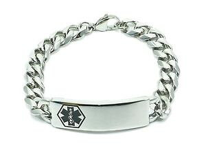 【送料無料】ブレスレット アクセサリ? ブレスレットステンレススチールチェーンソリッドmedical alert id bracelet stainless steel curb chain engravable solid