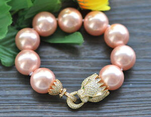 【送料無料】ブレスレット アクセサリ? ピンクラウンドサウスシーシェルパールブレスレットクーガーp7409 huge 8 20mm pink round south sea shell pearl bracelet cz cougar