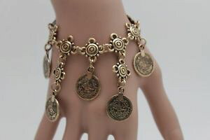 【送料無料】ブレスレット アクセサリ? レディースアンティークゴールドビンテージコインフラワーペンダントチェーンブレスレットエスニックladies antique rusted gold vintage coin flower pendant