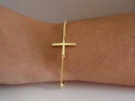 【送料無料】ブレスレット アクセサリ— イエロースターリングシルバークロスブレスレット14k yellow gold over 925 sterling silver sideways cross bracelet 9 total