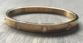【送料無料】ブレスレット アクセサリ— ブレスレット…スチールゴールドラッシュモードthe bracelet of love l love rush rigid steel gold with rhinestones mode