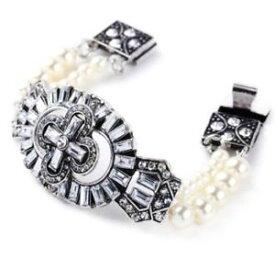 【送料無料】ブレスレット アクセサリ— ホワイトパールビーズクリスタルラインストーンシルバークロスアールデコブレスレットwhite pearl bead crystal rhinestone chunky silver cross art deco strand bracelet