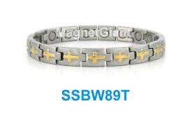【送料無料】ブレスレット アクセサリ— クロスステンレススチールリンクブレスレットゴールドシルバーcross women magnetic stainless steel link bracelet gold amp; silver