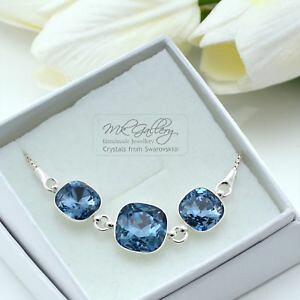 【送料無料】ブレスレット アクセサリ? シルバーブレスレットスワロフスキーデニム925 silver adjustable bracelet 10amp;12mm denim blue crystals from swarovski