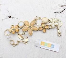 【送料無料】ブレスレット アクセサリ— ボームブレスレットガラスカボションフラワースワロフスキーベージュキラキラbohm bracelet glass cabochon flower swarovski beige shimmering sand gold bnwt