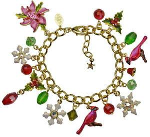 【送料無料】ブレスレット アクセサリ? カークポインセチアチャームブレスレットgoldtonekirks folly poinsettia cardinal charm bracelet goldtone