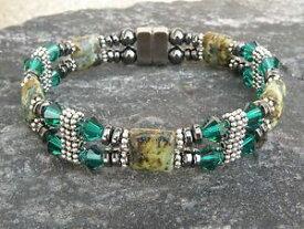 【送料無料】ブレスレット アクセサリ— womensブレスレットアンクレットアフリカトルコwエメラルドグリーンswarovski 2rowwomens magnetic bracelet anklet african turquoise w emerald green swarovs