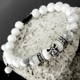 【送料無料】ブレスレット アクセサリ— スターリングシルバークロスブレスレットsterling silver cross skull adjustable braided bracelet white howlite