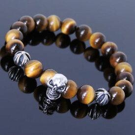 【送料無料】ブレスレット アクセサリ— メンズブラウンタイガーアイスターリングシルバースカルクロスブレスレットカレンmens women brown tiger eye sterling silver skull cross bracelet diykaren 752