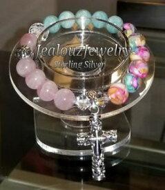【送料無料】ブレスレット アクセサリ— スターリングクロローズコーツltトルコアマゾナイトヨガブレスレットsterling silver cross rose quartz lt turquoise amazonite gemstone yoga bracelet
