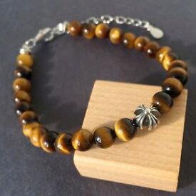 【送料無料】ブレスレット アクセサリ— タイガーススターリングクロヨガブレスレットyoga bracelet natural brown tigers eye sterling silver cross bead