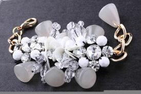 【送料無料】ブレスレット アクセサリ— デザイナーグレービーズスパンコールゴールドチェーンブレスレットamazing designer marni grey beads amp; sequins gold chain runway couture bracelet
