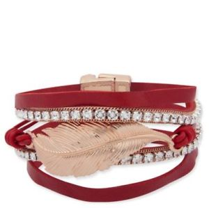 【送料無料】ブレスレット アクセサリ— ビビレッドスエードスワロフスキーブレスレットポーチbibi bijoux red amp; 18ct gold plated suede amp; swarovski bracelet bnwt amp; gift pouch