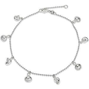 【送料無料】ブレスレット アクセサリ? スターリングシルバーシーシェルブレスレット925 sterling silver assorted sea shell dangle ankle bracelet