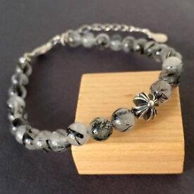 【送料無料】ブレスレット アクセサリ— ルチルブレスレットスターリングシルバークロスビーズクラスプrutilated quartz meditation bracelet sterling silver cross bead clasp