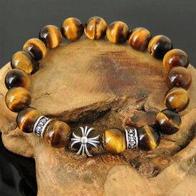 【送料無料】ブレスレット アクセサリ— メンズレディースブラウンタイガーアイブレスレットスターリングシルバークロスビーズmens ladies 10mm brown tigers eye bracelet sterling silver cross bead