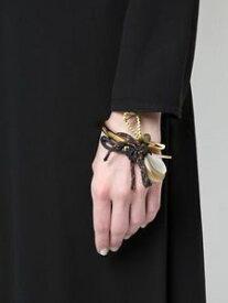 【送料無料】ブレスレット アクセサリ— イタリアホーンコードブレスレット marni italy goldtone horn and toggle cord statement bracelet