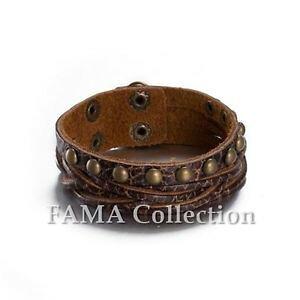 【送料無料】ブレスレット アクセサリ? スマートfamaブラウンブレスレットquality stylish fama brown weaved adjustable leather bracelet with studs