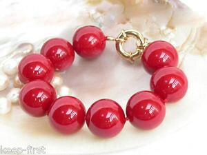 【送料無料】ブレスレット アクセサリ? ファッションレッドサウスシーシェルパールラウンドビーズブレスレットfashion 14mm natural red south sea shell pearl round beads bracelets 75aaa