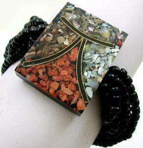 【送料無料】ブレスレット アクセサリ? モザイクレッドコーラルシーシェルズビードストレッチカフブレスレットmosaic red coral seashells bead stretch cuff bracelet 69 adjustable ba352