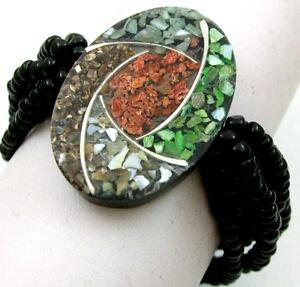 【送料無料】ブレスレット アクセサリ? モザイクレッドコーラルシーシェルビーズストレッチブレスレット18 mosaic red coral sea shells bead stretch bracelet 69 adjustable ; ea321