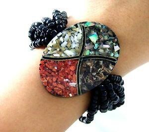 【送料無料】ブレスレット アクセサリ? モザイクレッドコーラルシーシェルビーズストレッチブレスレット18 mosaic red coral sea shells bead stretch bracelet 69 adjustable ; fa122