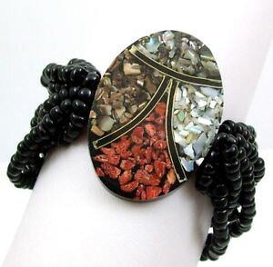 【送料無料】ブレスレット アクセサリ? ハンドメイドモザイクレッドコーラルシーシェルビーズストレッチブレスレットジュエリーhandmade mosaic red coral seashell bead stretch bracelet 69 adj jewelry a