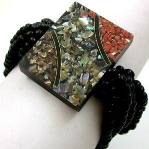 【送料無料】ブレスレット アクセサリ? モザイクレッドコーラルシーシェルビーズストレッチブレスレットダ16 mosaic red coral sea shells bead stretch bracelet 69 adjustable ; da317