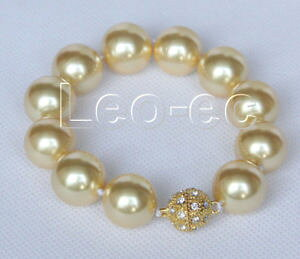 【送料無料】ブレスレット アクセサリ? サウスシーシェルブレスレットマグネットクラスプ8 16mm round golden south sea shell pearls bracelet magnet clasp v335